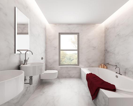 Minimal elegant luxury bathroom, white marble